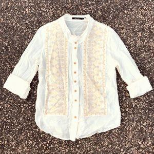 Neiman Marcus Cotton/Silk Embroidered button downM